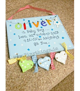 Personalised wooden baby announcement plaque