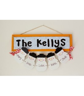 personalised hanging snowmen plaque