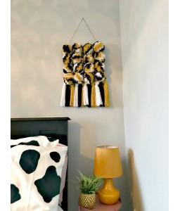 Pom Pom grid for wall hanging