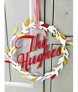 Personalised wooden wreath
